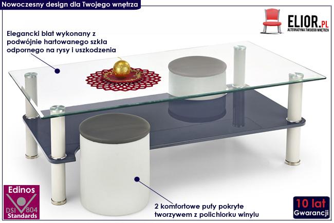zestaw ława i dwie pufy Jetta popiel stolik