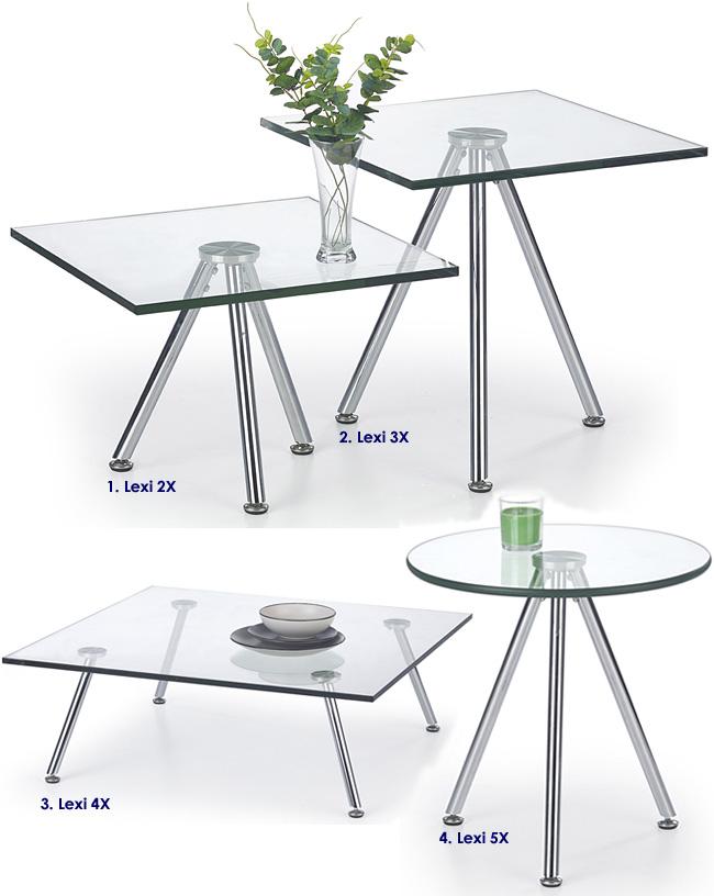 Przezroczysty stolik kawowy szklany Lexi