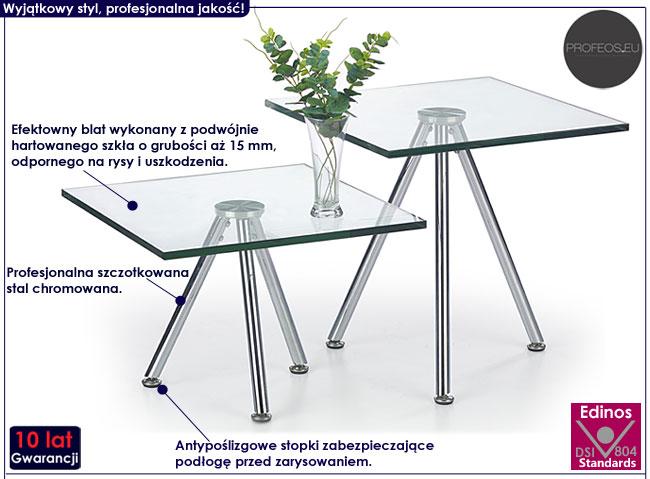 Kwadratowa ława szklana do salonu Lexi 2X