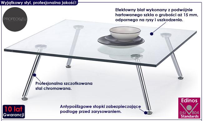 Bezbarwna duża, niska ława szklana Lexi 4X