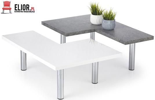 Dwa stoliki kawowe biały połysk i beton Libra
