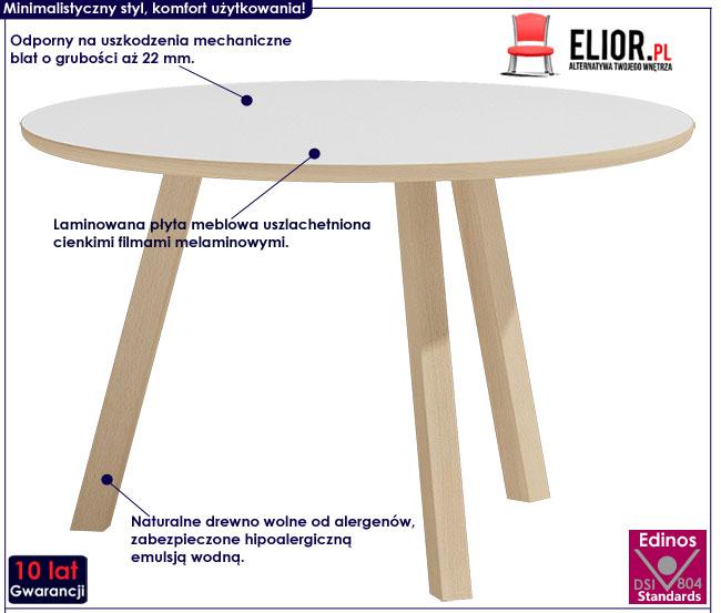 Skandynawski okrągły biały stolik Lindo 2X