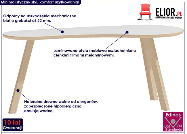 Biały owalny stolik kawowy Lindo 4X