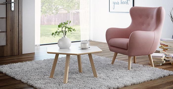 Skandynawski biały stolik do salonu Lindo 8X