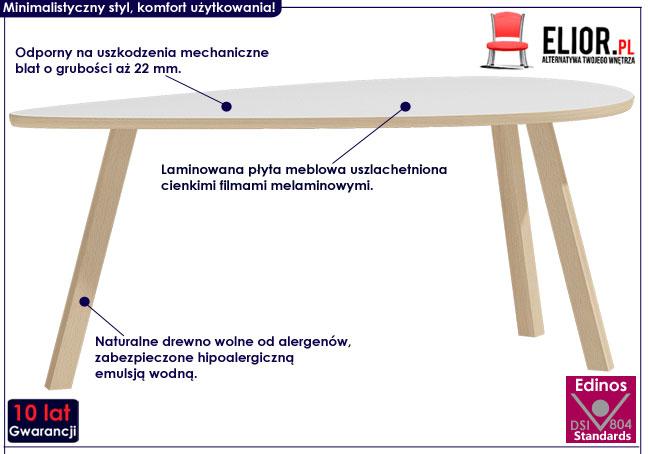 Drewniana biała ława do salonu Lindo 9X