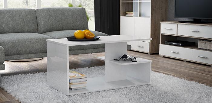 Prostokątny biały stolik kawowy Livea