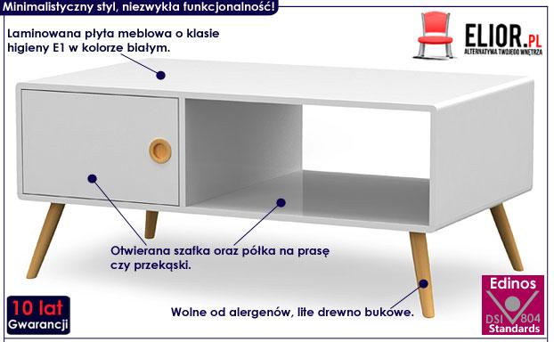 Skandynawska biała ława do salonu Lomes 4X
