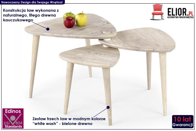 zestaw ław ława rozkładana Morea naturalne drewno