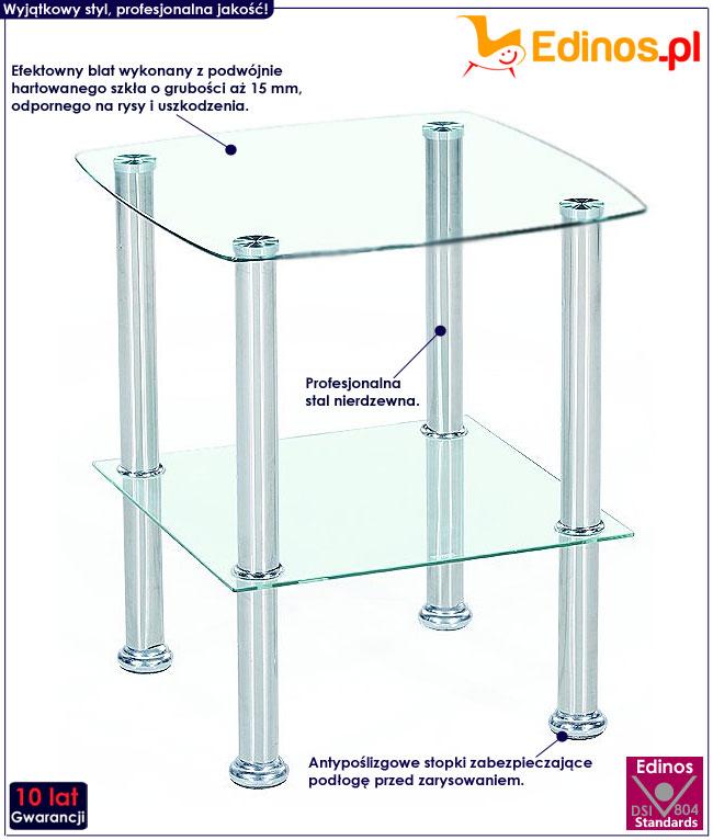 Kwadratowy szklany stolik kawowy Ranya