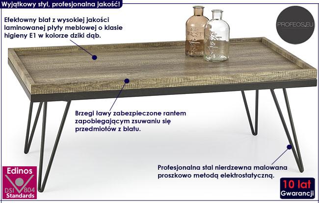 industrialny stolik kawowy laminowany Reeva ława