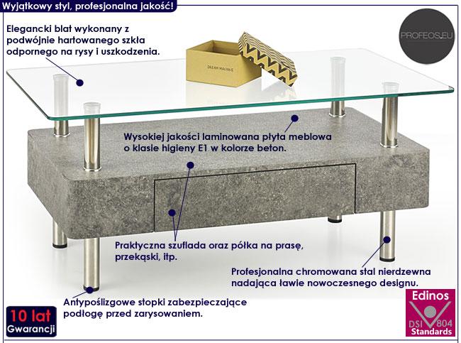 Industrialna ława z betonu Rita