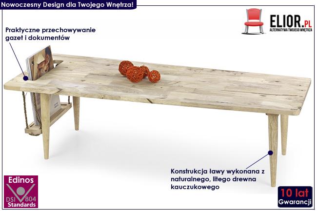 Niska ława drewniana stolik Salsa