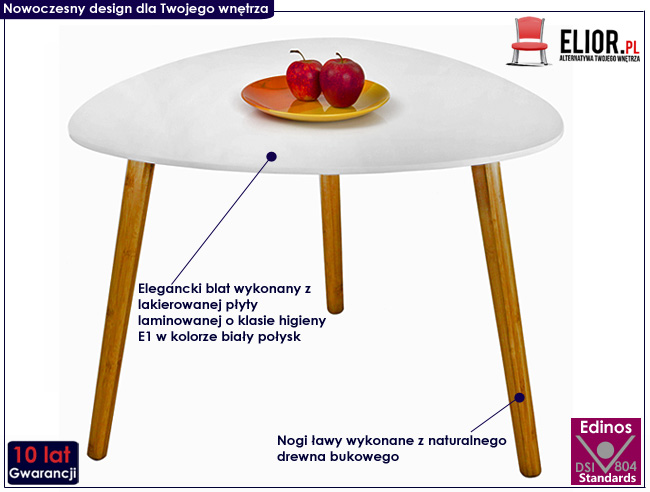 skandynawski stolik kawowy drewniany biały połysk Sapira
