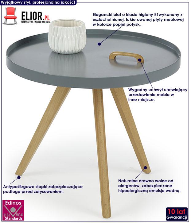 Okrągła ława minimalistyczna szara Sisi
