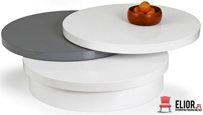okrągła ława stolik rozkładany wysoki połysk Sofia biała