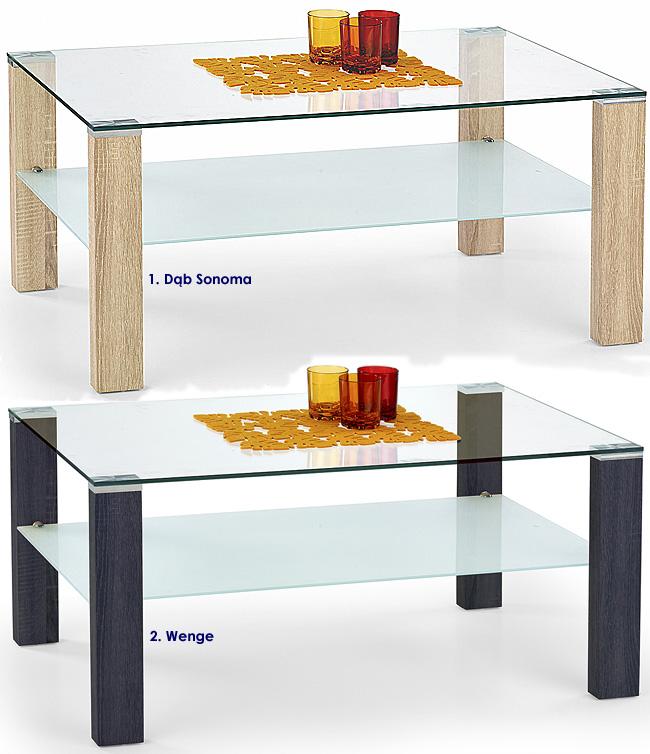 ława szklana do salonu dąb sonoma Sonea 2X stolik do pokoju