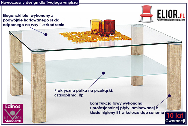 ława prostokątna szklana dąb sonoma Sonea stolik kawowy