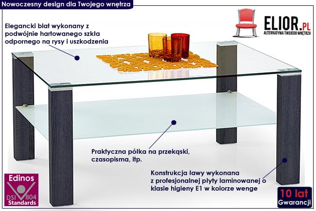 ława szklana laminowana prostokąt stolik do salonu wenge Sonea