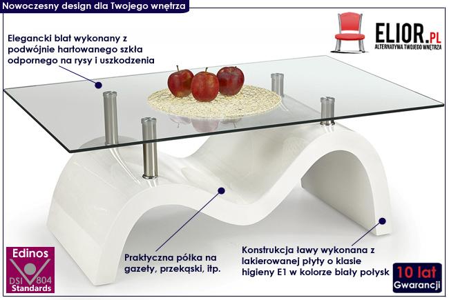 Lakierowana ława Stella biały połysk stolik