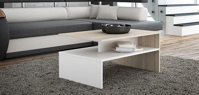 Praktyczny stolik kawowy biały, dąb sonoma Stenna