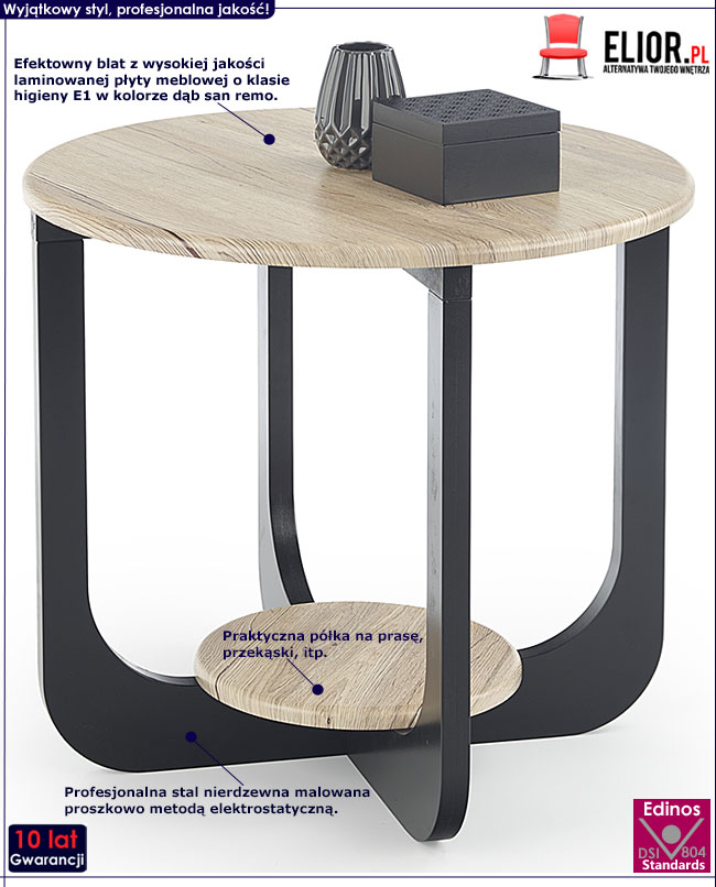 Okrągły stolik kawowy dąb san remo Stilia 2X