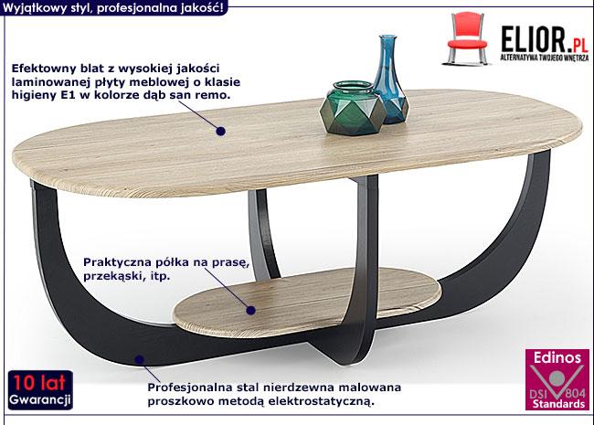 Owalny stolik kawowy do salonu dąb san remo Stilia 3X