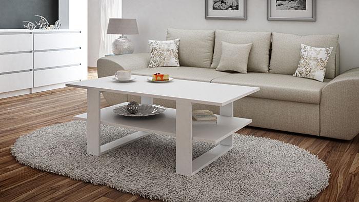 Nowoczesny biały stolik kawowy Tonsa