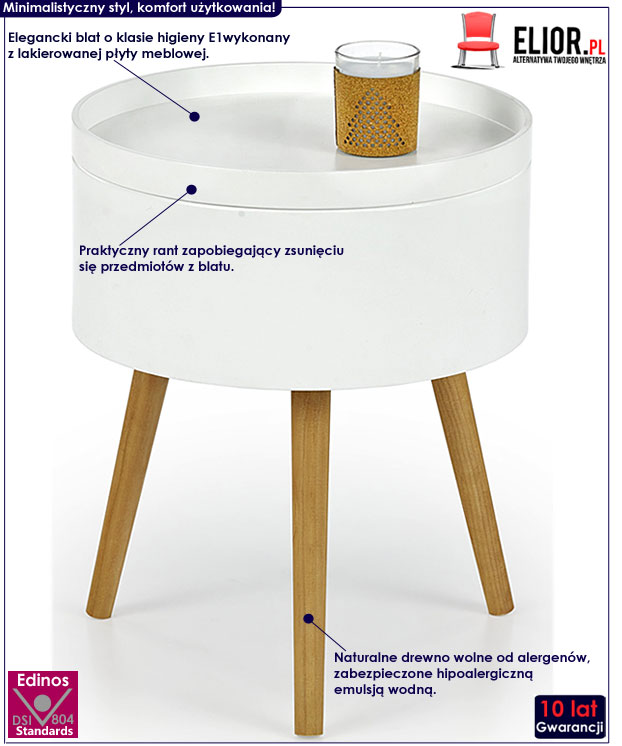Skandynawski biały okrągły stolik kawowy Viva