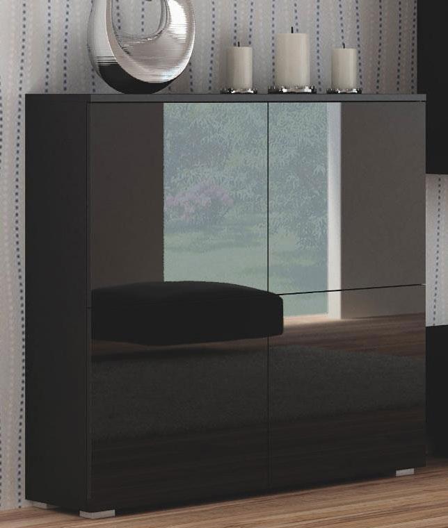 Czarna komoda stojąca do salonu wysoki połysk Vomes 2X