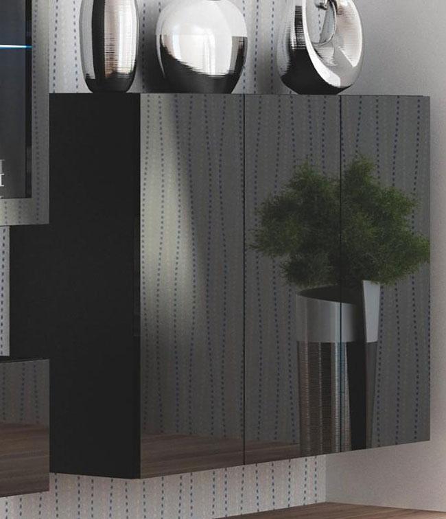 Wisząca lakierowana czarna komoda do salonu Vomes 3X