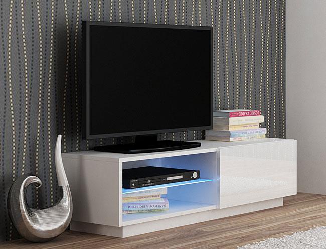Nowoczesna biała szafka RTV z oświetleniem Vomes 4X