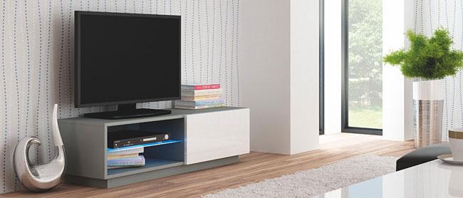 Lakierowana szafka pod telewizor biała, szara Vomes 4X
