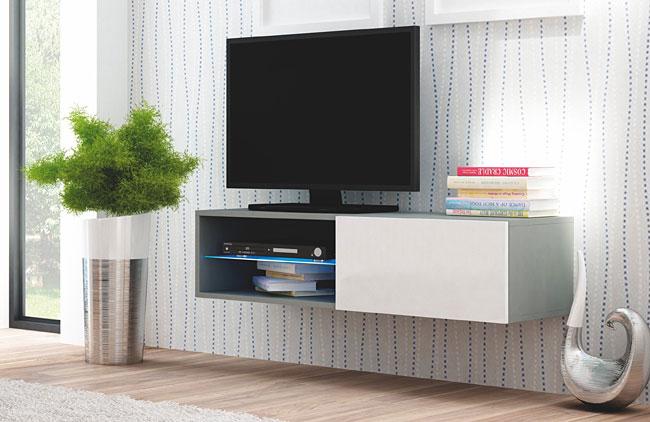 Wisząca szafka pod telewizor biała, szara Vomes 5X