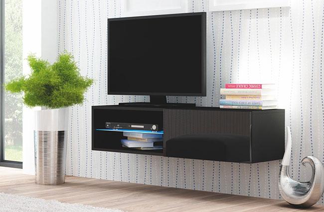 Czarna szafka pod telewizor wysoki połysk Vomes 5X