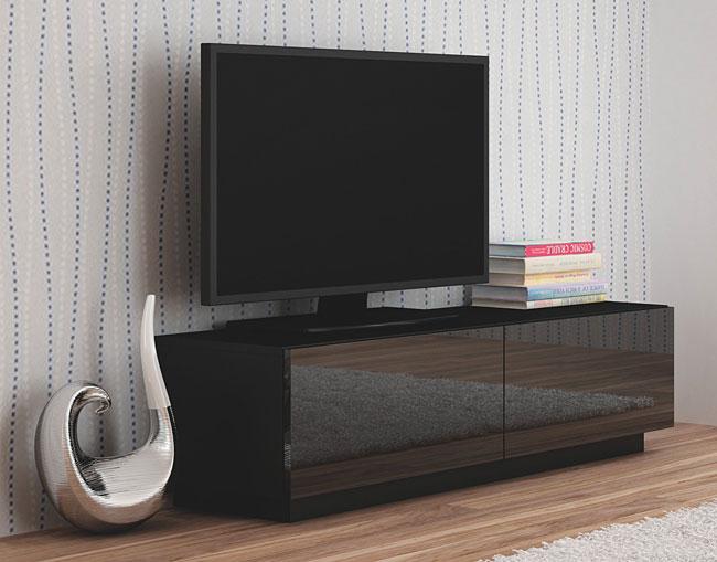 Czarna szafka RTV na wysoki połysk Vomes 6X