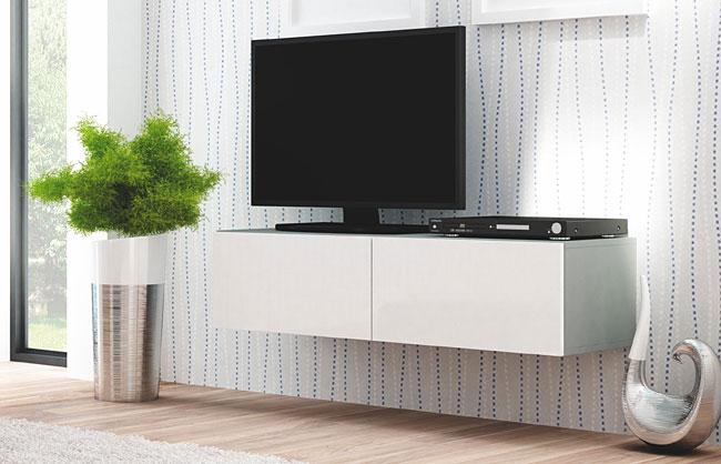 Lakierowana wisząca szafka pod telewizor biała, popielata Vomes 7X