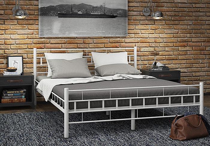 łóżko białe metalowe 140x200 artis