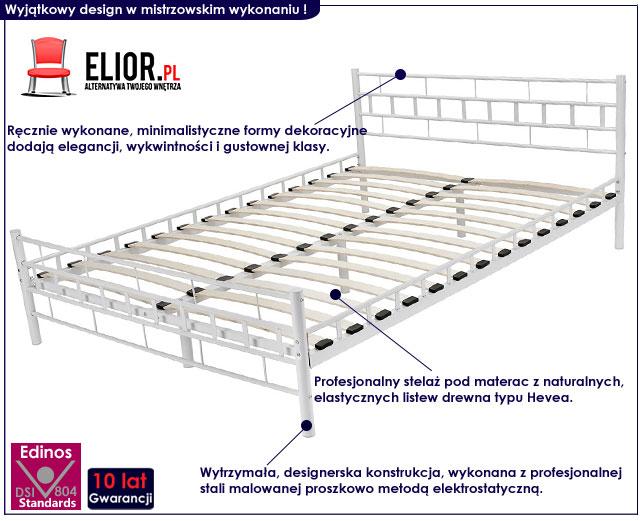 minimalistyczne łóżko metalowe białe 140x200