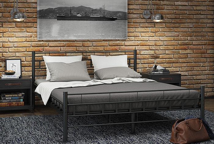 łóżko czarne metalowe 140x200 artis