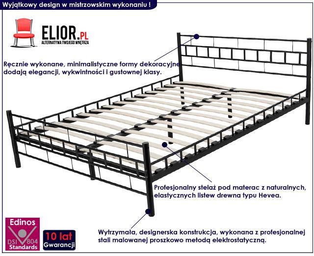 minimalistyczne łóżko metalowe czarne 140x200