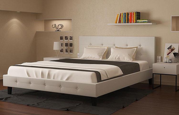łóżko pikowane białe dores