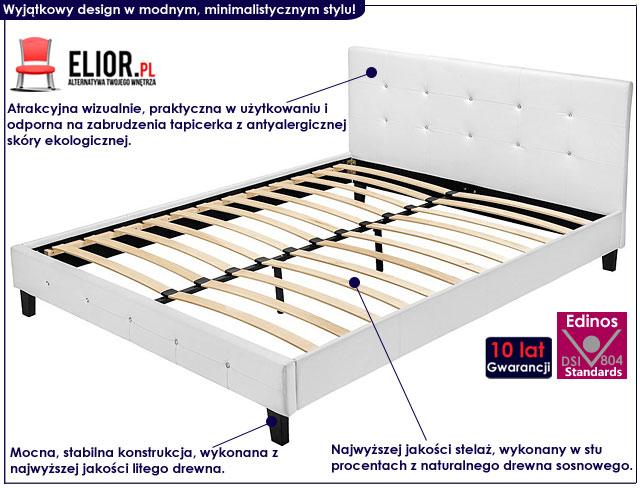 łóżko dores białe skórzane
