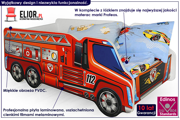 łóżko dla dziecka wóz strażacki