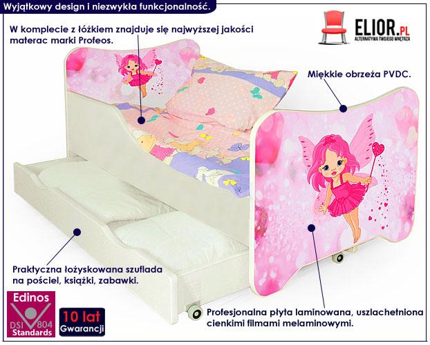 łóżko bajkowe dla dziewczynki happy fairy z wróżkami.