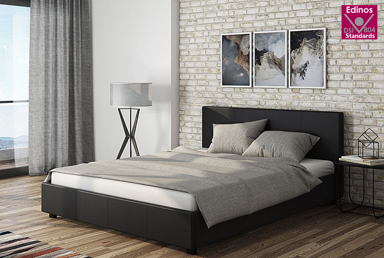łóżko skórzane czarne 140x200