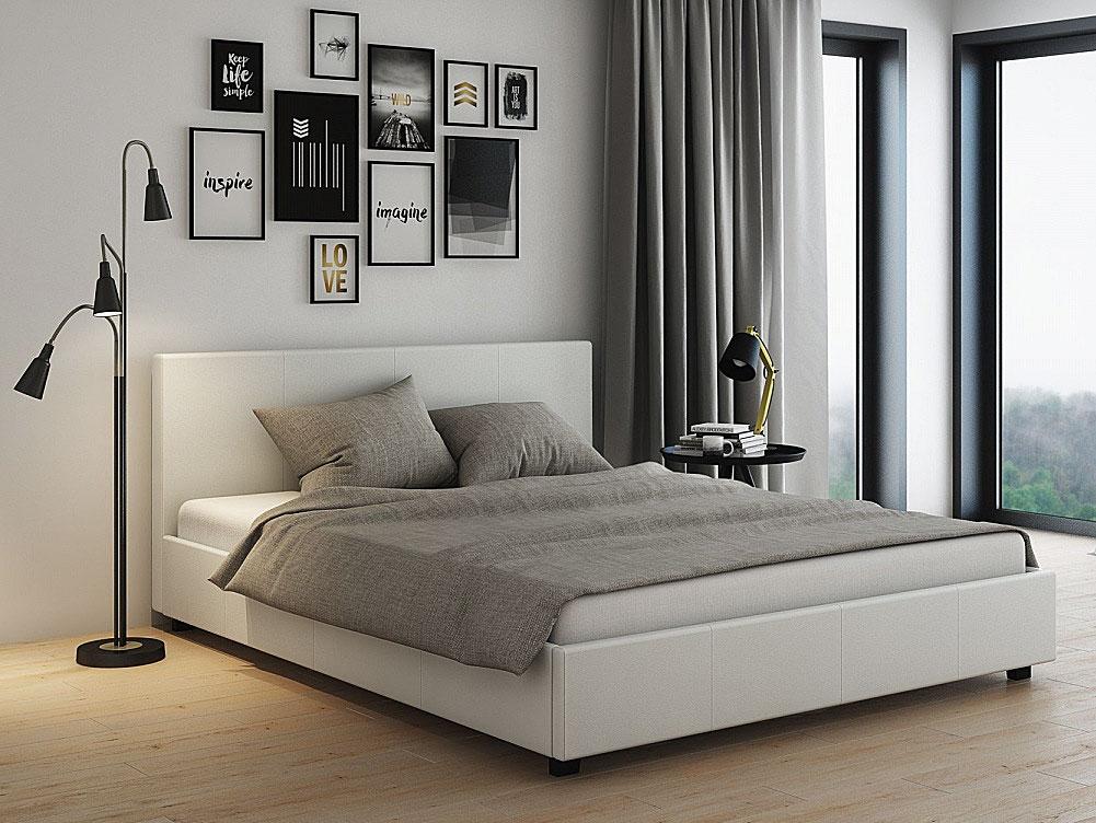 łóżko tapicerowane białe delisa