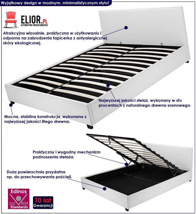 łóżko białe tapicerowane 140x200