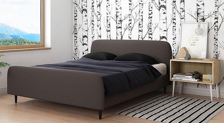 łóżko tapicerowane szare popiel