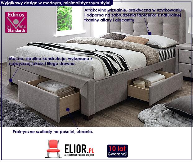 łóżko beżowe tapicerowane