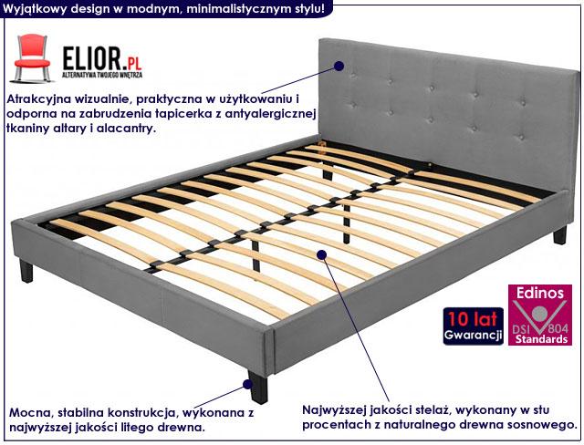 łóżko pikowane popiel 140x200